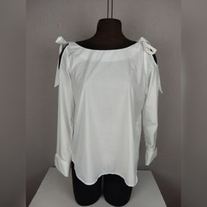 FRAME Denim Poplin Cold Shoulder Bow Top White L